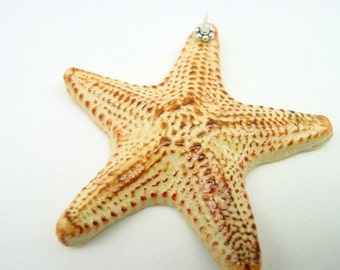 55mm Amber brown handmade Sea Star Pendant