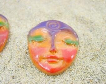 Orange Art Doll Face Cabochon with symbolic spiral - handmade