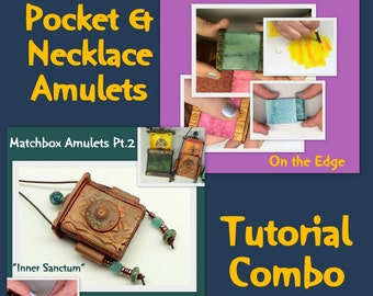 Matchbox Amulets Combo Tutorial  1, 2 plus - create boxes - Polymer Clay multi media Tutorial - Digital PDF Download