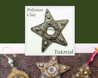 Star Bauble Ornament - Faux Metal - Polymer Clay Tutorial - Digital PDF Download