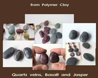 Imitative Beach Pebbles Series - 1st in a Series - Basalt, Quartz veins, Jasper - Complete Polymer Clay Tutorial - Digital PDF Download