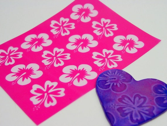 Large 1 inch Flowers - Hawaiian Hibiscus Silkscreen for Polymer clay