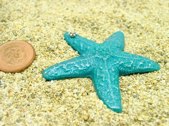 45mm turquoise peacock handmade Sea Star Pendant with daisy bail