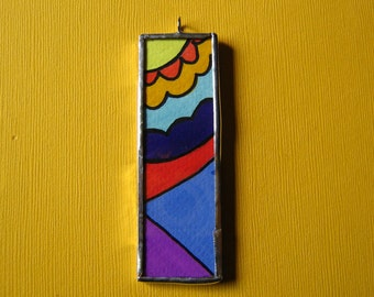 Butterfly pollination -  Water Color painting double sided soldered pendant
