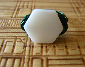 Hexagon mother of pearl and wire Ring