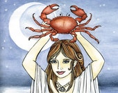 Reserved for marymoondesigns - Cancer crab Zodiac watercolor print 8x10