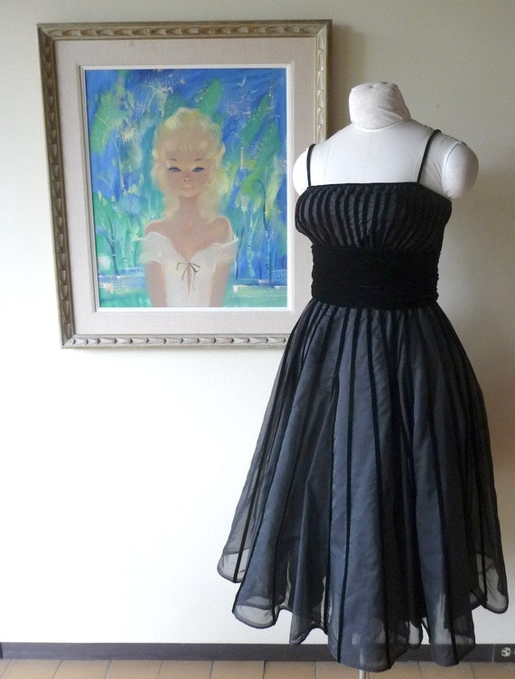Black Velvet Cocktail Dress  1950s Rappi