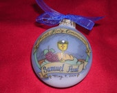 Boy's First Holy Communion Original Handpainted Personalized Keepsake Ornament with Free Display Stand