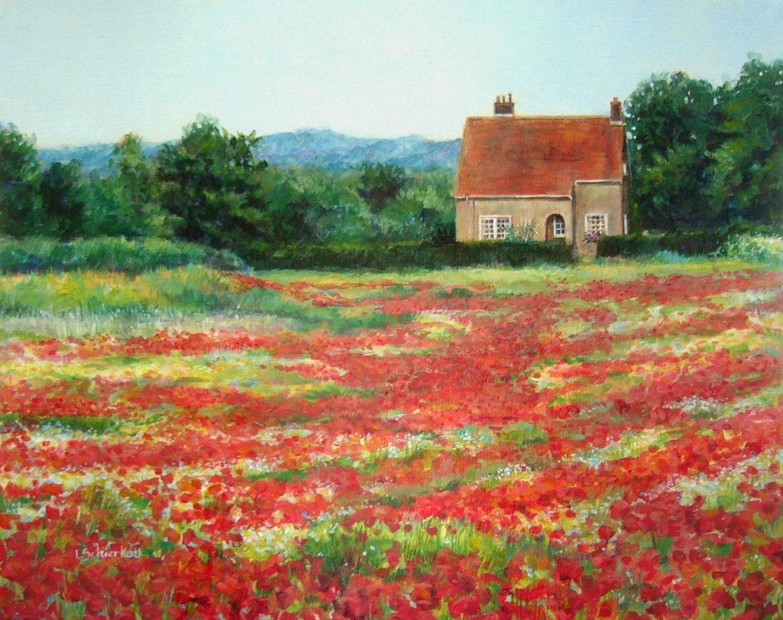 16x20 Original Painting Poppy Field Iii