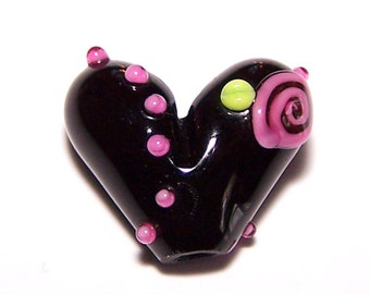Handmade Lampwork Rose Heart Bead by Cara