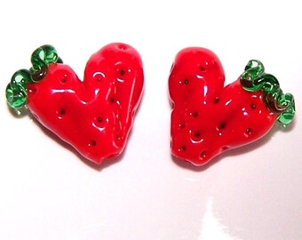 Strawberry Hearts Lampwork Beads by Cara