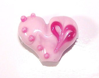 Handmade Lampwork Heart Within A Heart Pink Heart Bead by Cara
