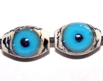 Handmade Lampwork Glass Halloween Blue Eye Beads by Cara
