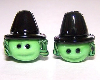Handmade Lampwork Glass Beads Pair of Halloween Lampwork Witches by Cara