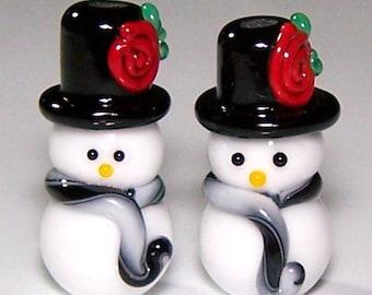 Handmade Lampwork Pair of TopHatted Snowmen Beads by Cara