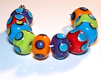 Bright and Bold Lampwork Spacer Beads by Cara