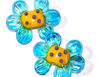 Handmade Lampwork Glass Bead Lovely  Flowers by Cara