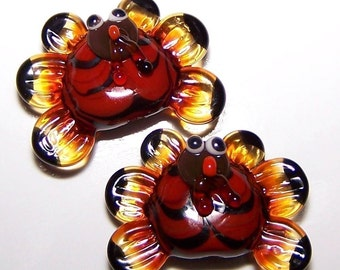 Handmade Lampwork Glass Bead Pair of Tom Turkeys by Cara