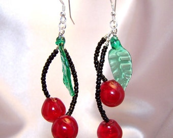 Handmade Lampwork Glass and Sterling Silver Cherry Bomb Earrings by Cara