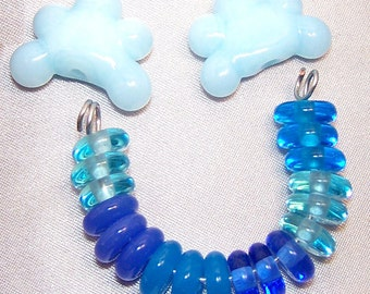 Handmade Lampwork Glass Rain Clouds Bead Set by Cara