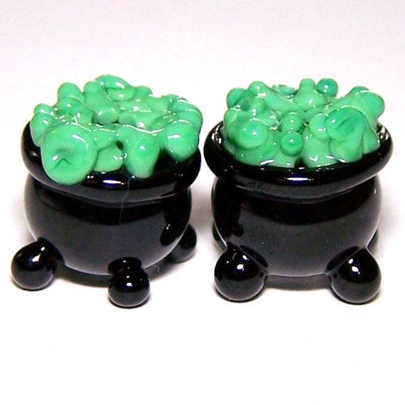 Bubble Bubble Pair of Lampwork Cauldrons by Cara