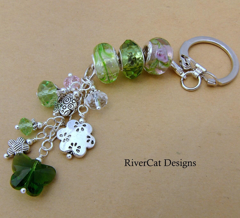 Pandora Interchangeable Earrings: Green Pandora Inspired Interchangeable Key Ring Chain K-22