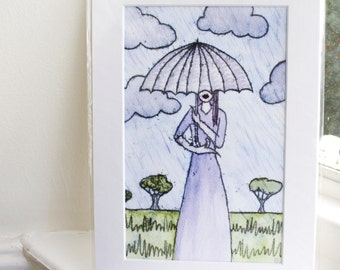 Rain - mounted illustration print