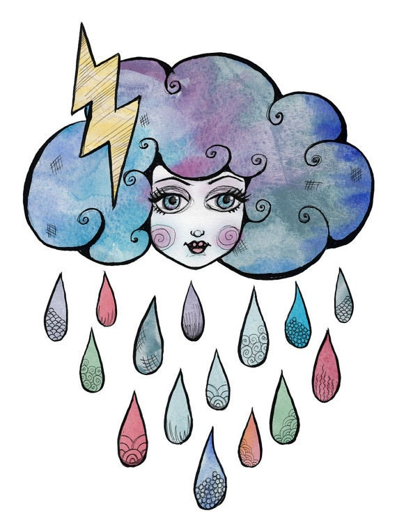 Today I am a Storm Cloud - illustration print A4 mounted