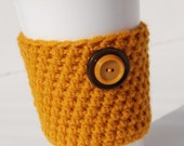Crochet Coffee Cozy in Mustard Yellow with Vintage Buttons