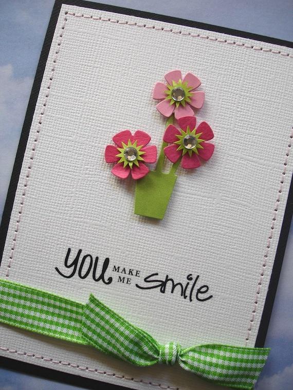 you make me smile - handmade card - so cute