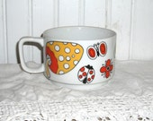 Vintage Soup Mug - Mushrooms and Butterflies