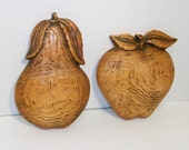 Two Vintage Chalkware Plaques, Faux Bois Woodgrain Fruit