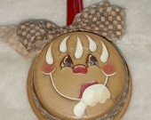 Hand Painted Gingerbread Wall Hanging on a Vintage Metal Pan