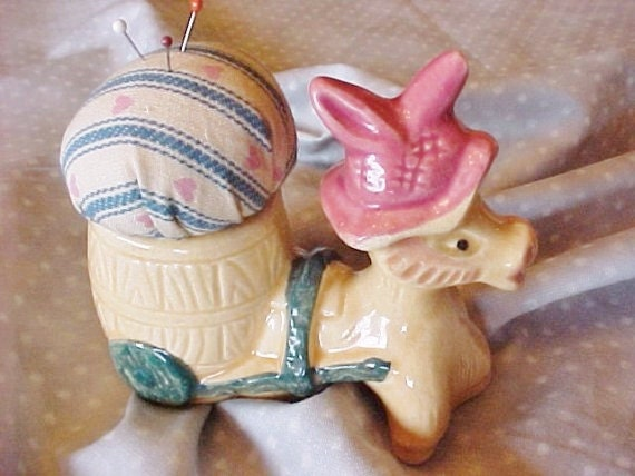Donkey Ceramic Pincushion, Repurposed, Upcycled Planter