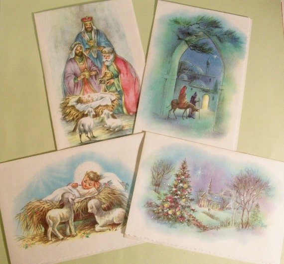 Vintage Christmas Cards, Glittered Retro Vellum Cards