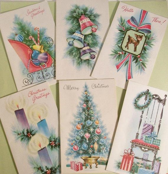 Vintage Christmas Cards, Pollyanna Brand Glittered Retro Cards