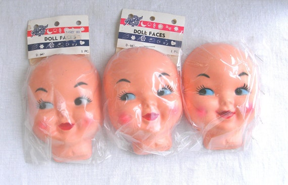 Vintage Doll Faces - Lot of Three - Paramount Novelties