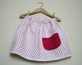 SALE A Twirly Skirt in pink polka dot linen with owl pocket