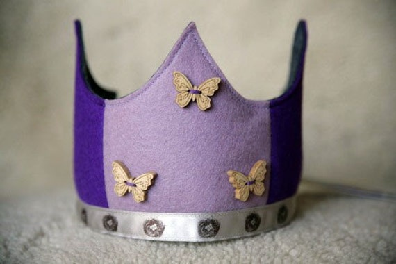 Wool Felt Crown - purple butterfly and nests