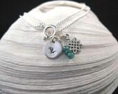 Emerald Gemstone Hand-Stamped Initial Celtic Charm Bracelet