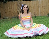 "Rainbow Stripe Strapless ""Prism"" Dress--------------customizable colors in Kona Cotton"