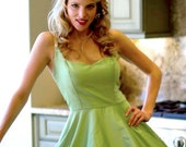 """Women's Sweetheat Pin Up """"Party"""" Dress-----------custom sized in Celery with Creme accents"""