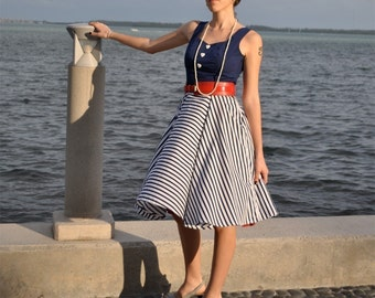Sydney Sails Dress Navy Blue Stripe Rockabilly Naval Dress with Heart Buttons full circle skirt knee length sample sale clearance
