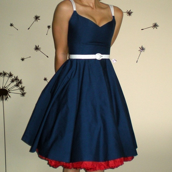 Party Dress for Meghan McCarron's Bridesmaids in Midnight Blue Satin