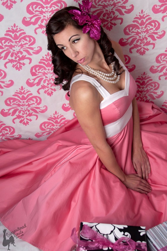 Women's - Pin up Candy Pink Dress with Pockets -------------Custom Sized----------------Many Colors