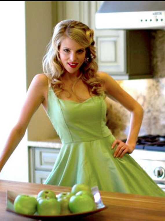 """Size Small Clearance Sweetheart Pin Up """"Party"""" Dress in Apple Celery Green with Creme Straps n Snap Buttons Rockabilly Pin Up vintage style"""