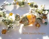 Sage and Saffron Glass Bead Charm Bracelet