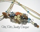 RESERVED FOR KIT -Blueberry Mango Madness - Glass and Seed Bead Necklace
