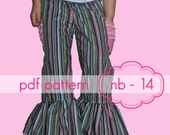 Mega Ruffle Pants - INSTANT download - shorts, capris, full lengths - nb-14 - pdf sewing pattern