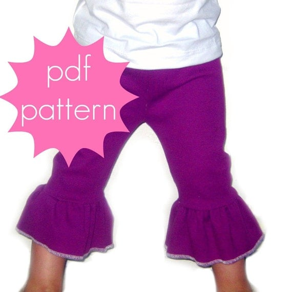 Everyday Ruffle Knit Pants PDF Sewing Pattern - full or capri length options - nb-5t or 6-14 and doll/preemie